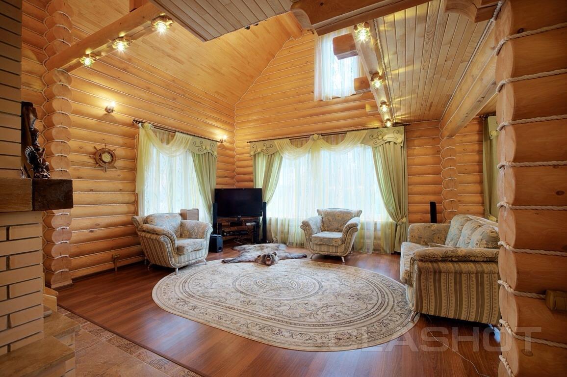 Интерьер деревянных домов из оцилиндрованного бревна фото