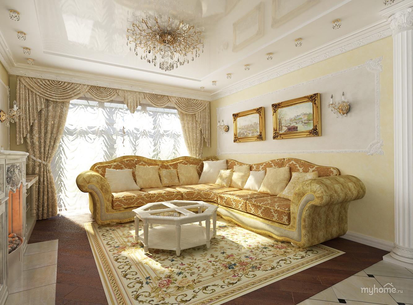 Золотой дизайн гостиной фото