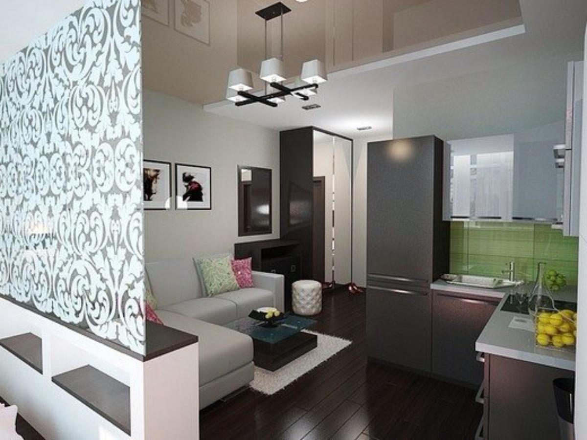 Дизайн квадратной студии 27 кв.м