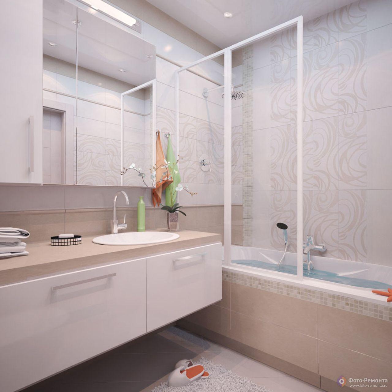 Современный дизайн ванной комнаты в панельном доме