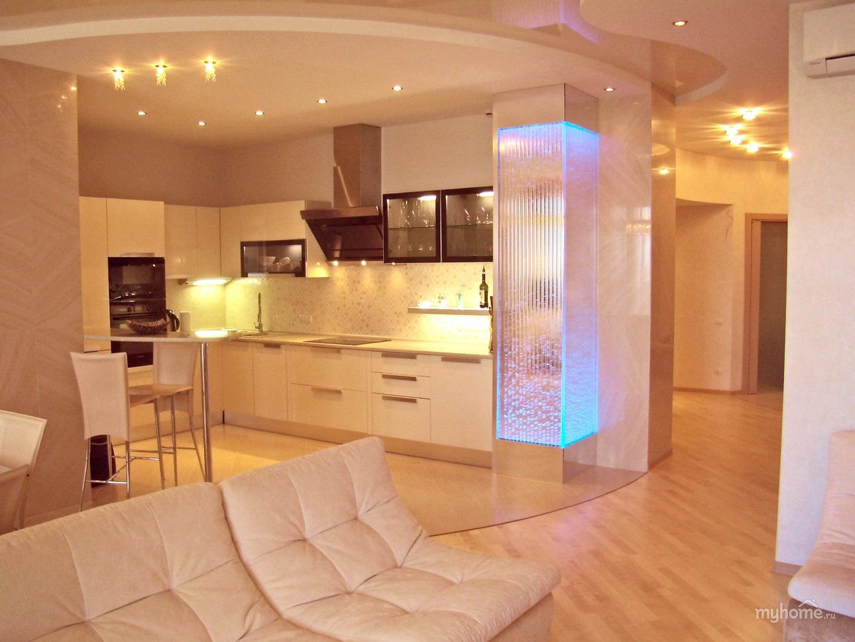 Дизайн однокомнатной квартиры кухней вместе
