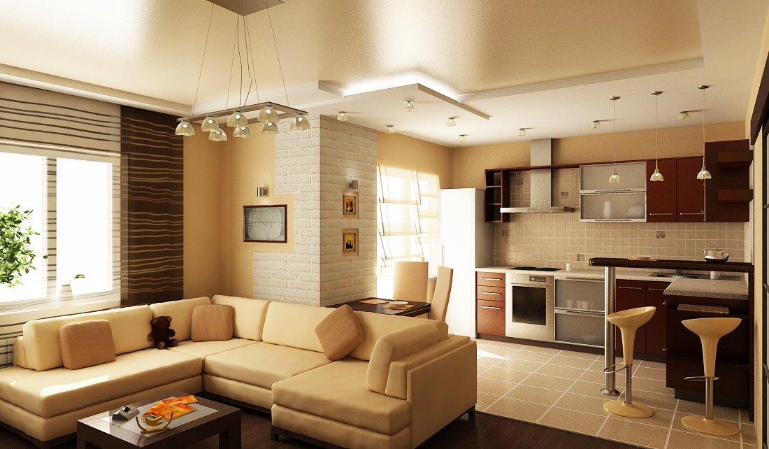 Дизайн совмещенного зала с кухней