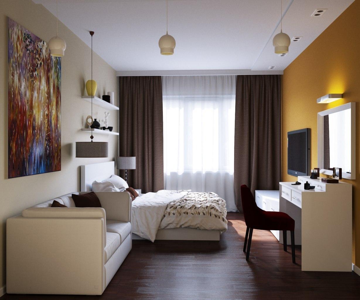 Дизайн 1 комнатной квартиры 48 квм с выделенным спальным местом