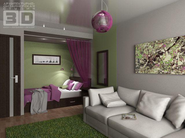 Дизайн интерьера 1 комн квартиры 32 кв.м фото
