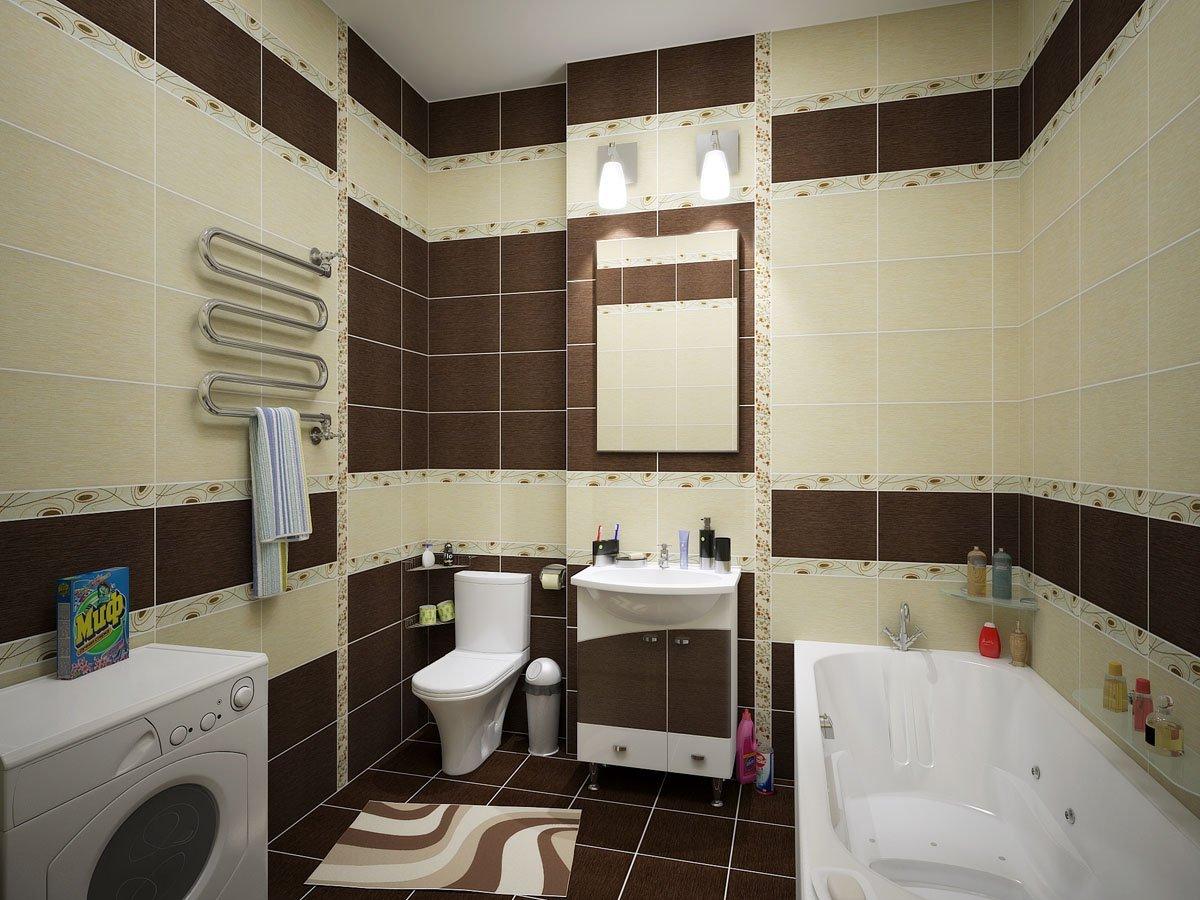 Коричневая плитка в ванной дизайн