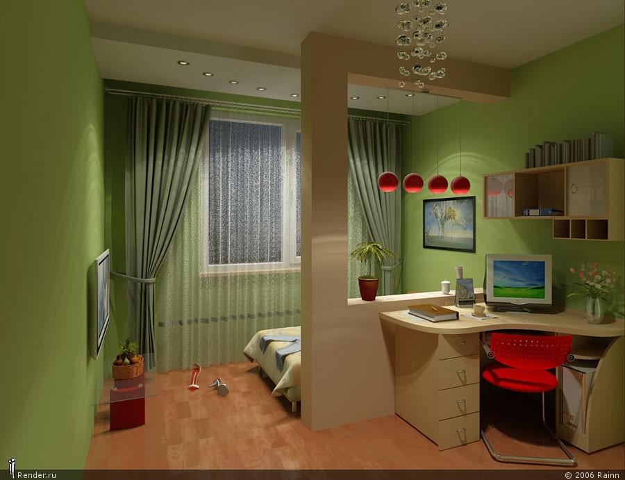 Дизайн однокомнатной квартиры совмещенной с кухней и спальным местом