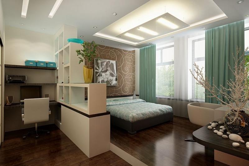 Дизайн спальни с кабинетом