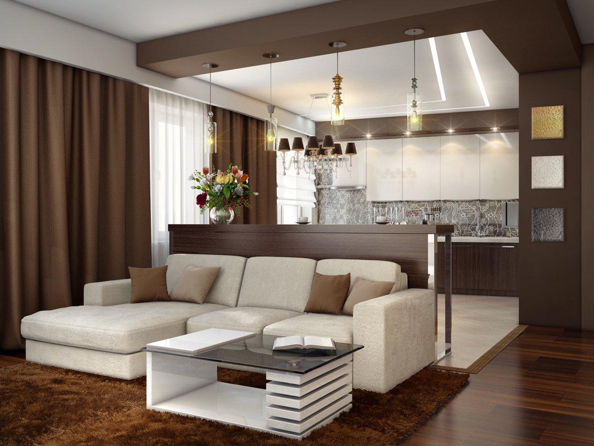 Дизайн проект студии кухня и гостиная