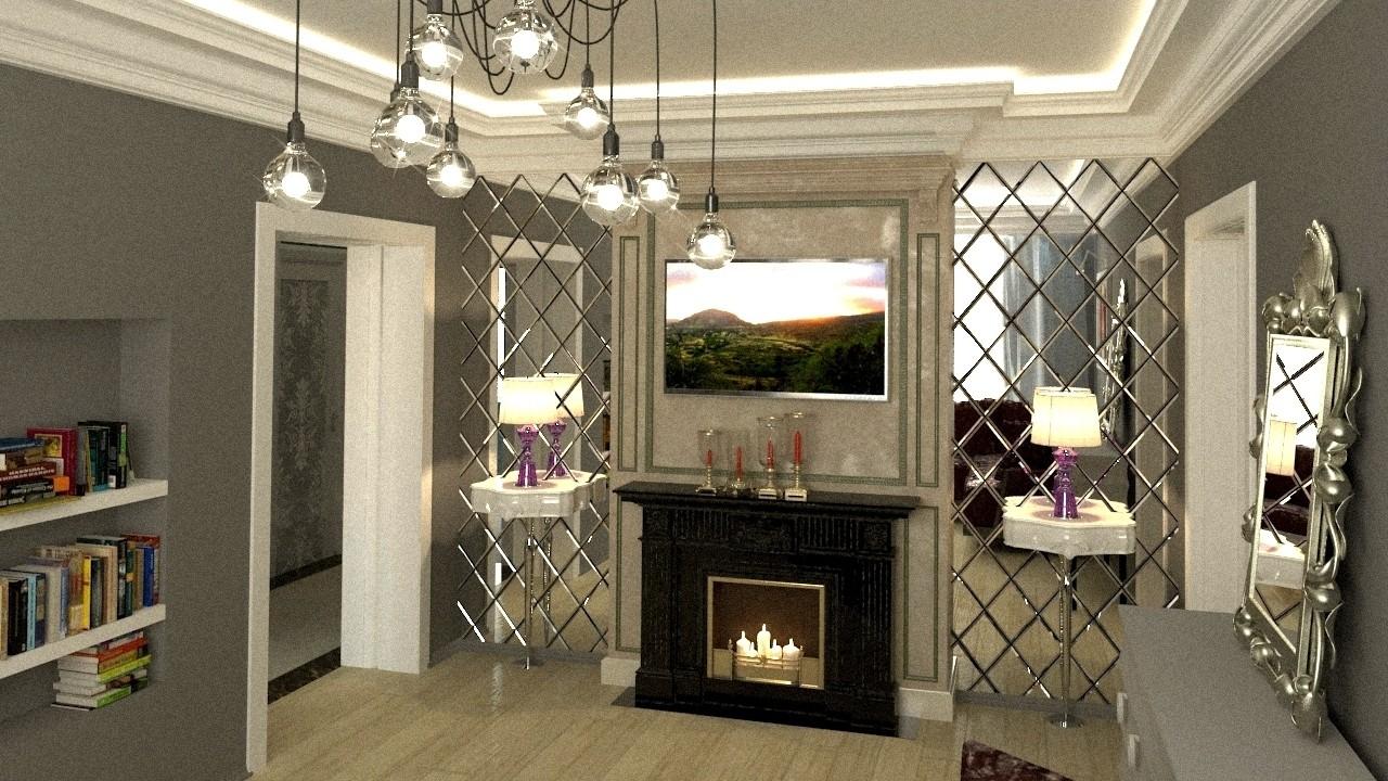 Интерьер гостиной с зеркалами с фацетом