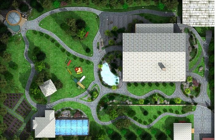 Дизайн территории у частного дома 70