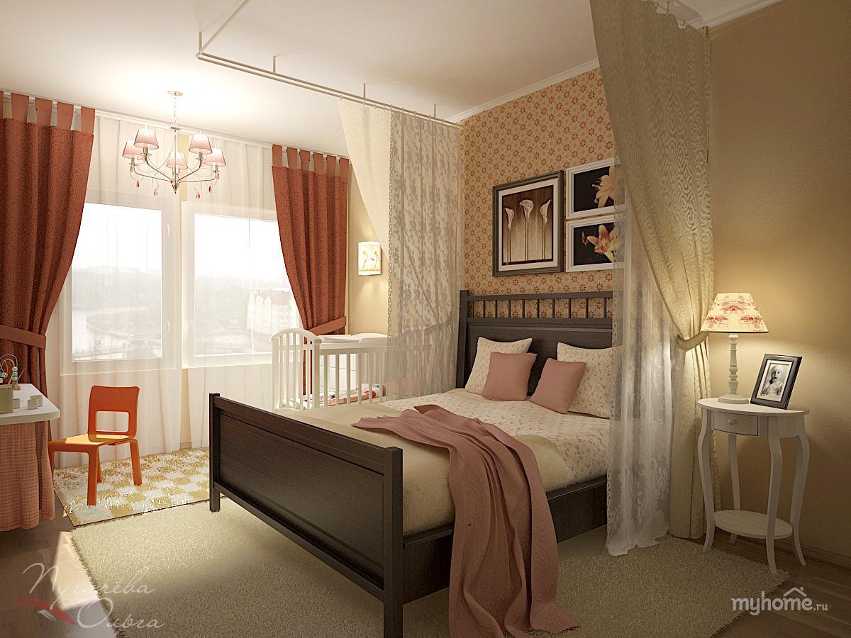 Фото спальни с детской кроваткой интерьер
