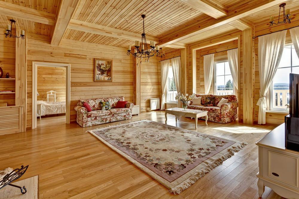 Дизайн гостиной для деревянного дома