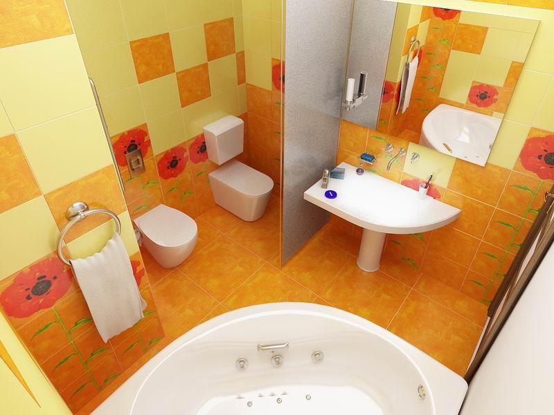 Совмещенные ванная с туалетом дизайн