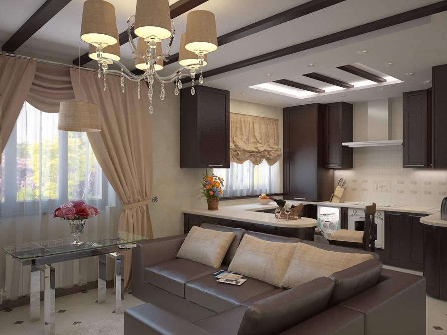 Кухня с окном по центру плюс гостиная дизайн в доме