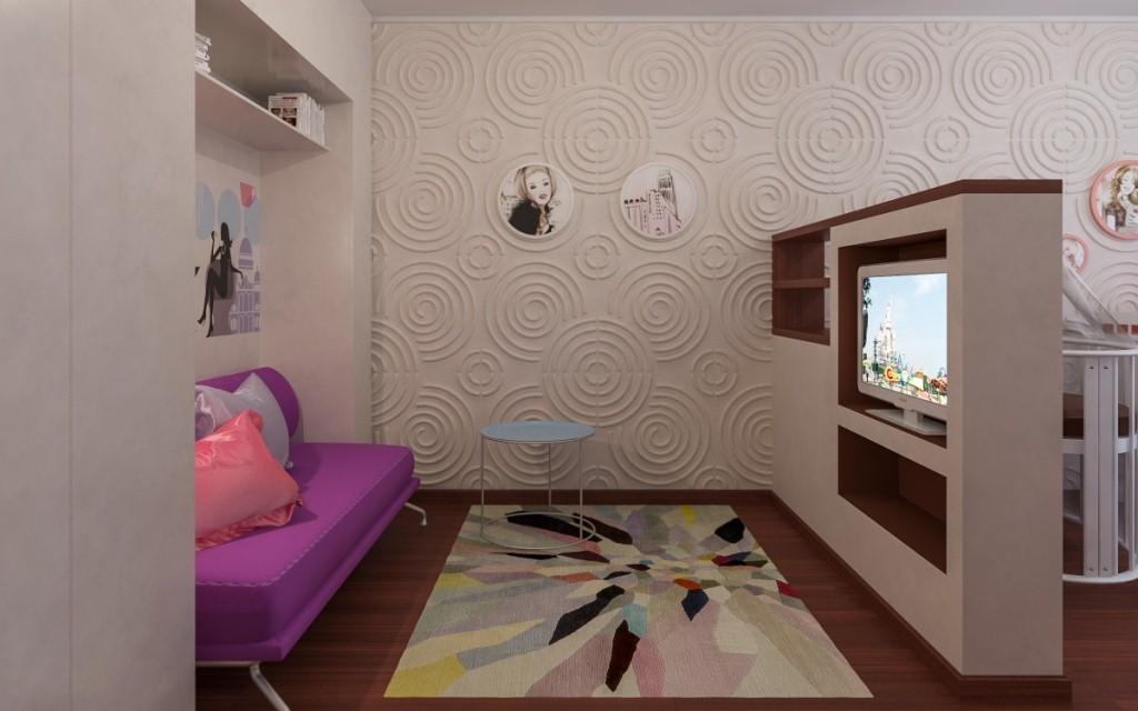 Дизайн однокомнатной квартиры для семьи с ребенком школьником