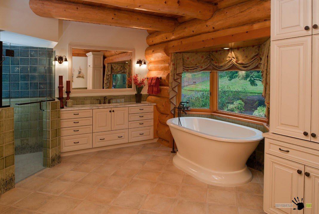 Интерьер ванных комнат в домах фото