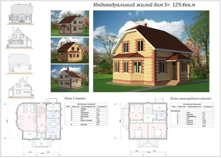 Фото и чертежи частных домов