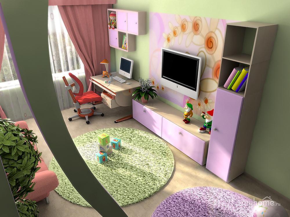 Дизайн в прямоугольной детской