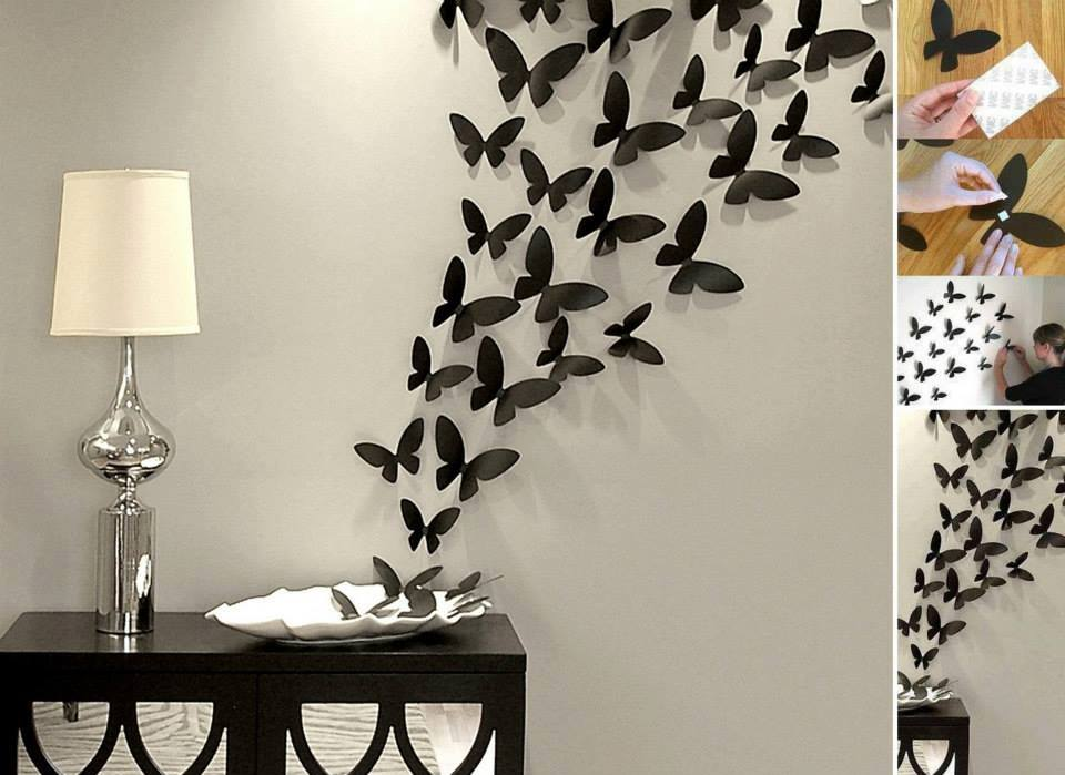 Бабочки в интерьере на стене своими руками фото