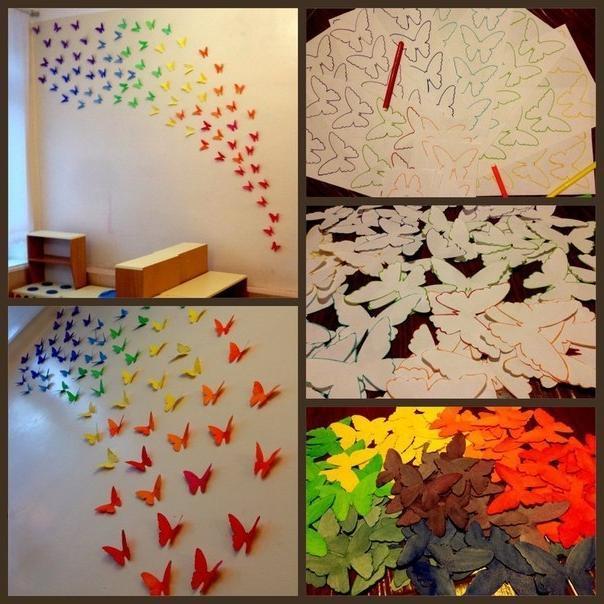 Бабочки на стене из бумаги