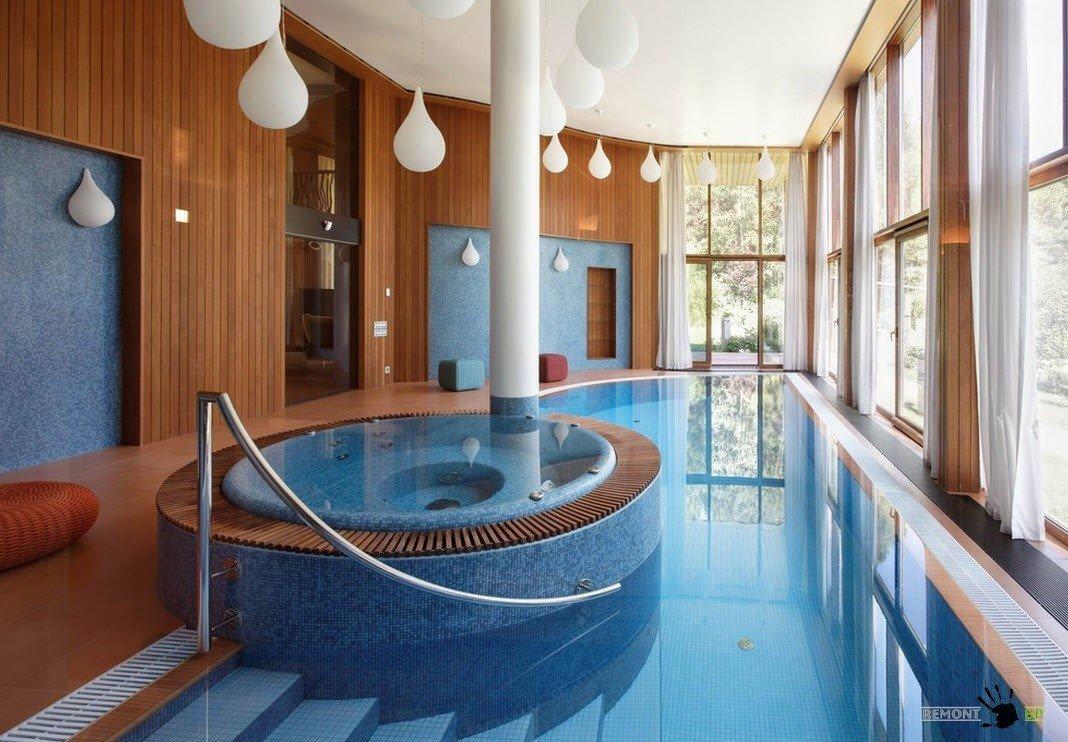 Проекты домов с бассейном интерьер