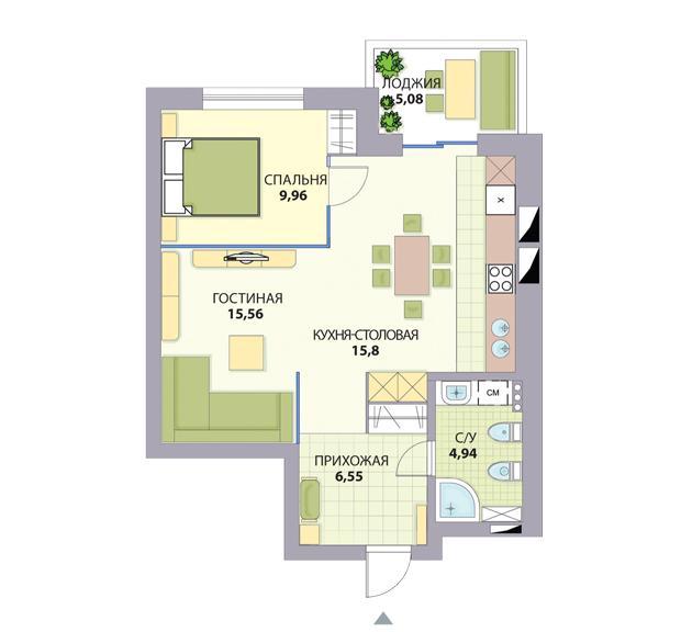 """Варианты перепланировки однокомнатной квартиры в двухкомнатную фото """" Картинки и фотографии дизайна квартир, домов, коттеджей"""