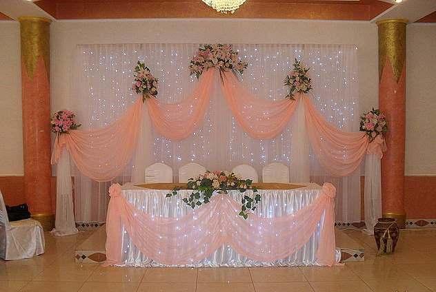 Оформить зал тканью на свадьбу своими руками