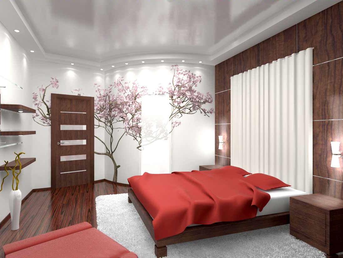 Фото дизайн спальной комнаты потолка