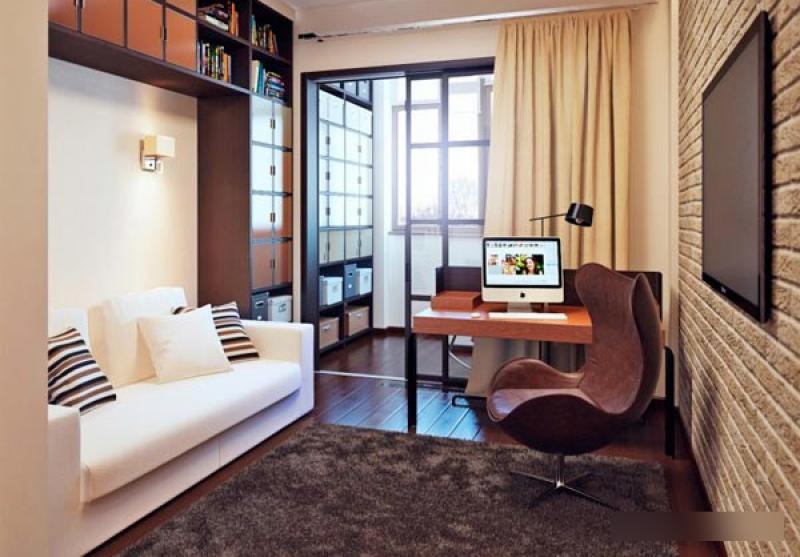 Узкая комната с балконом дизайн.