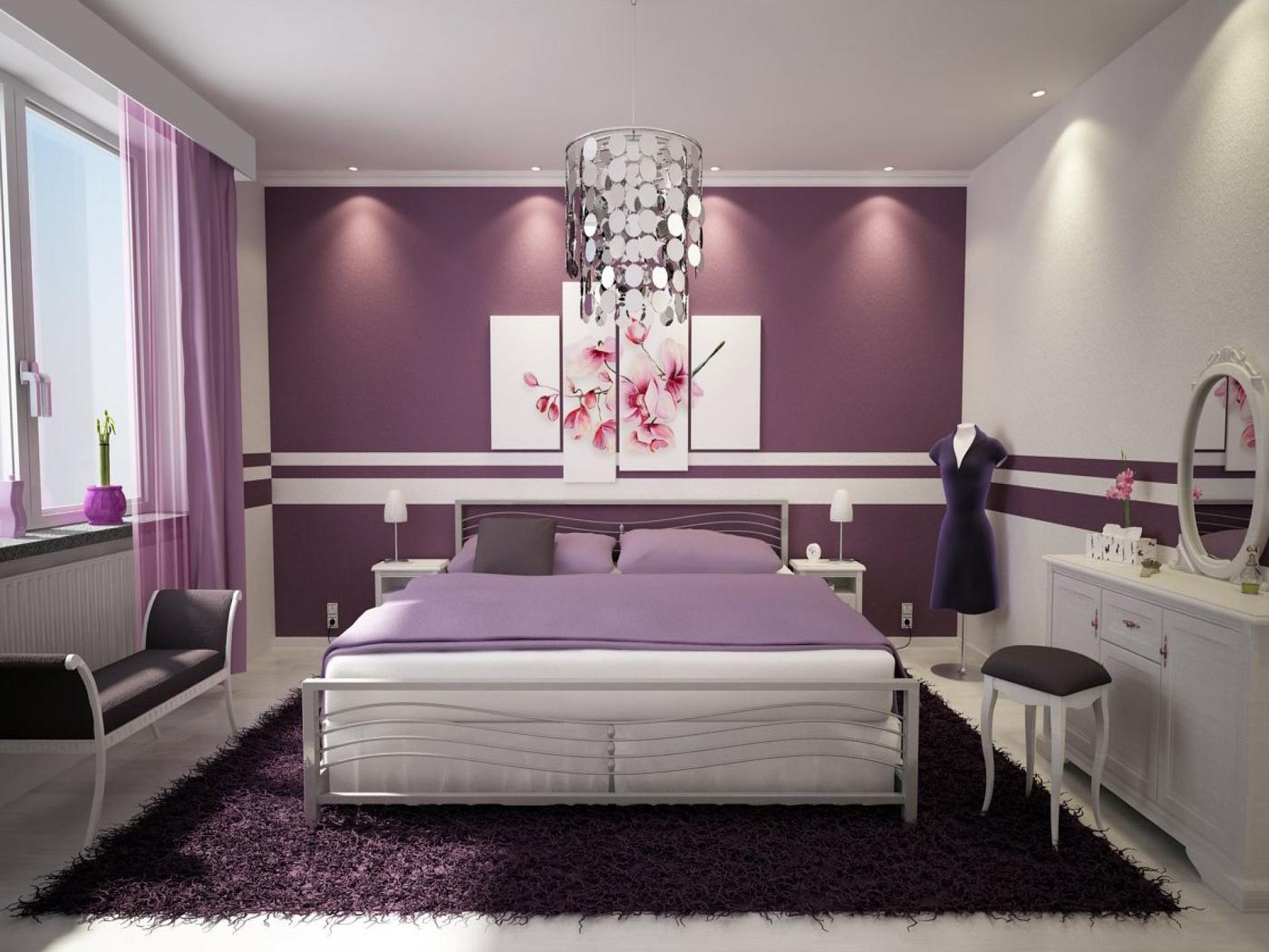 Дизайн сиреневой спальни 2017-2018 современные идеи