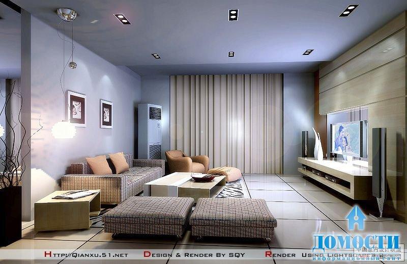 Дизайн гостиной спальни 18 метров в современном стиле