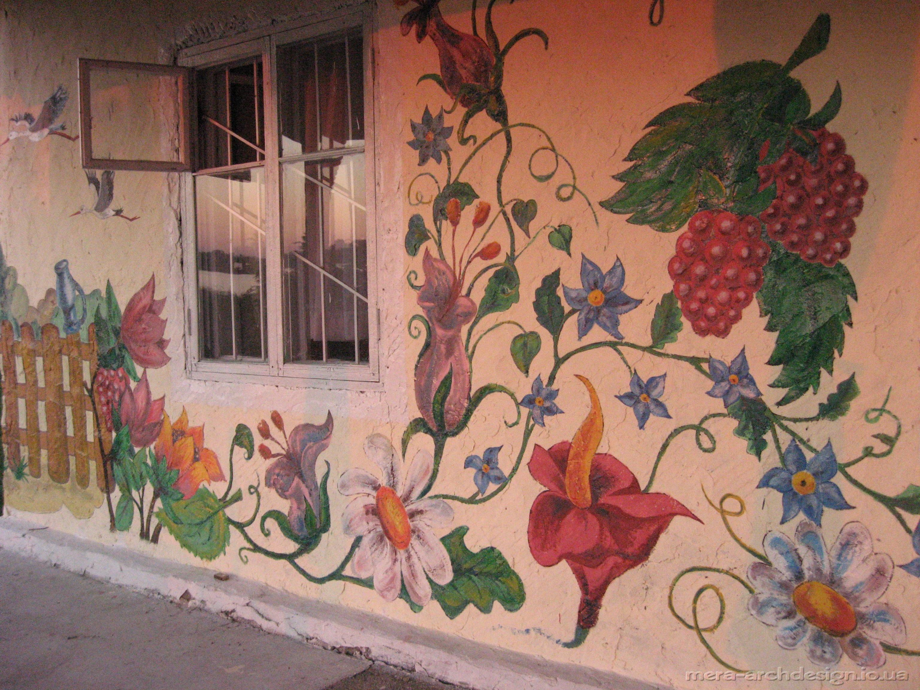 Рисунок на стене на доме