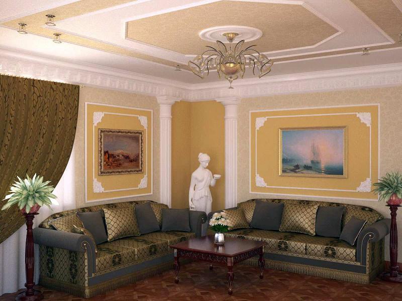 Гостиная частного дома ремонт
