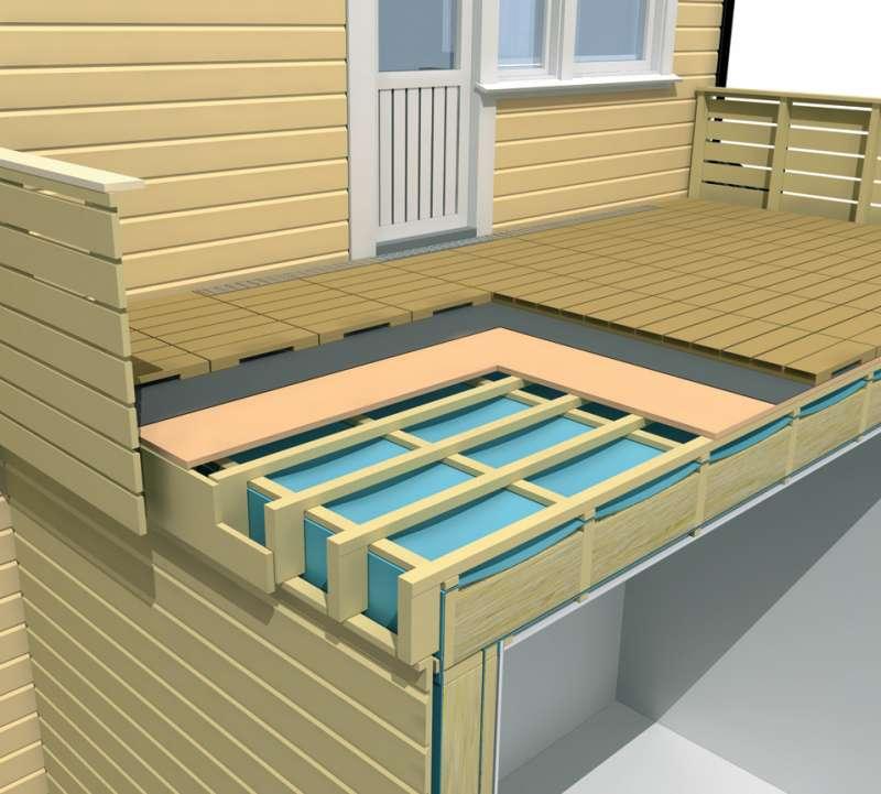 Открытый балкон в деревянном доме..