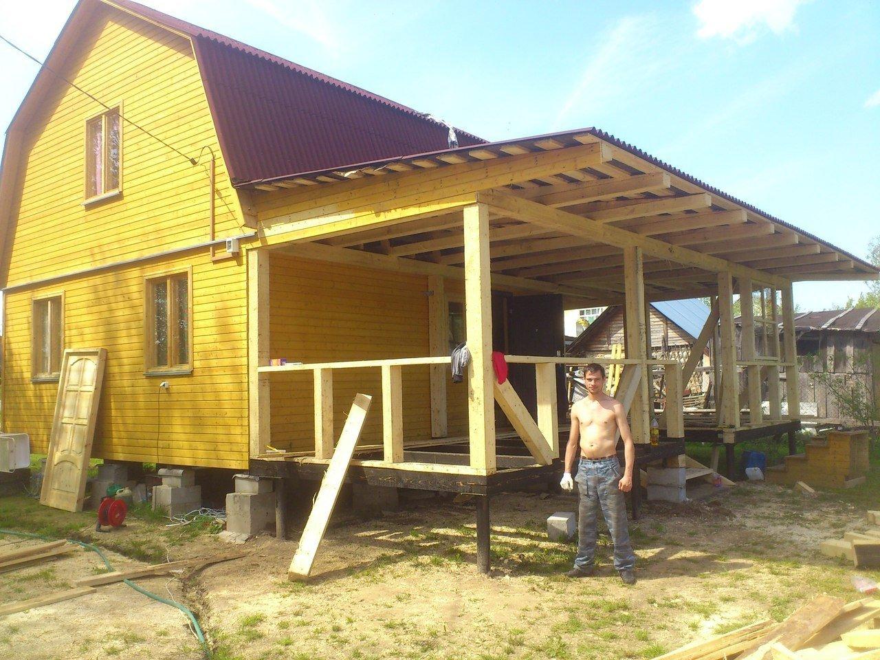 Как пристроить террасу к дому своими руками из дерева