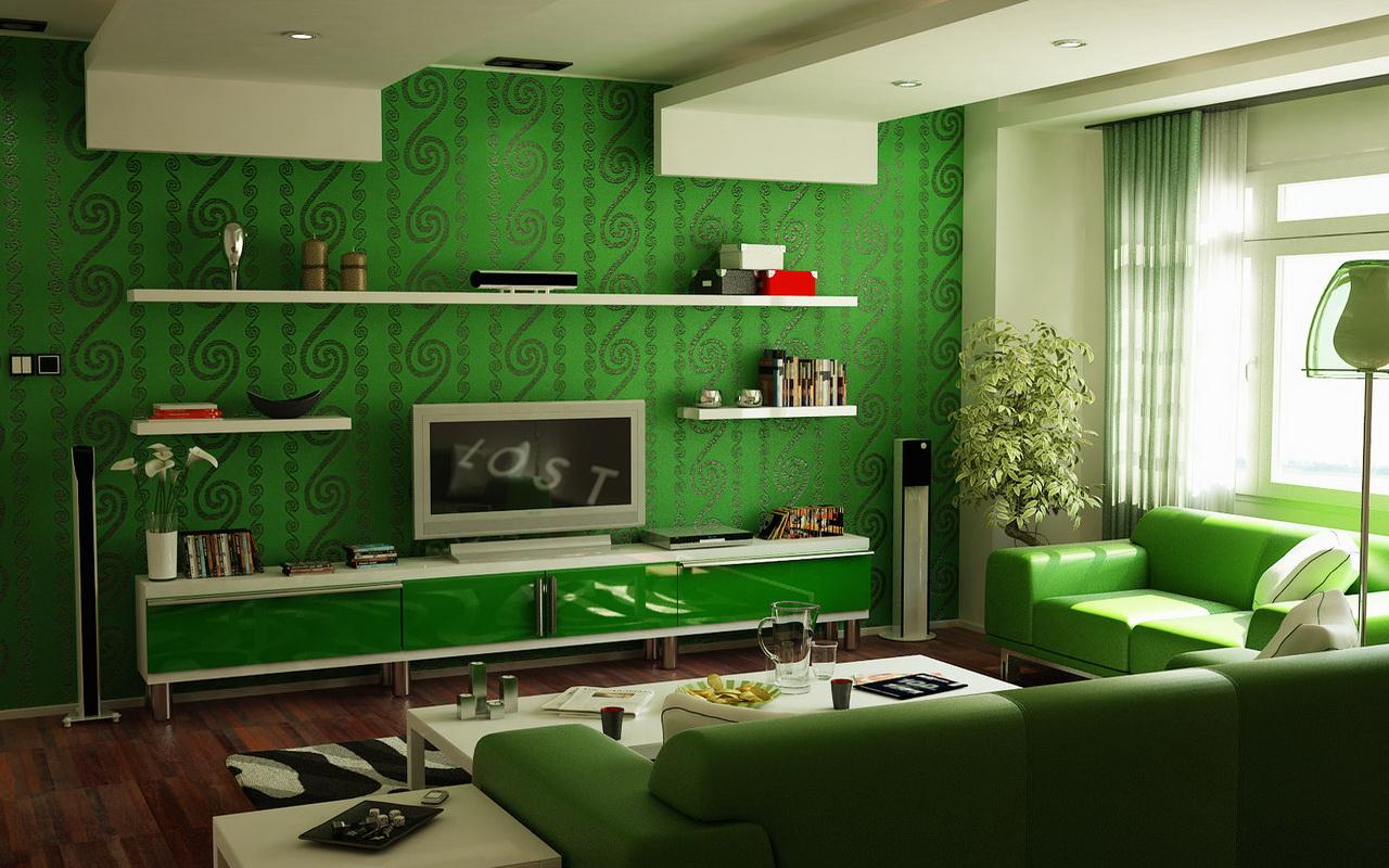 Зеленые обои в зале фото дизайн