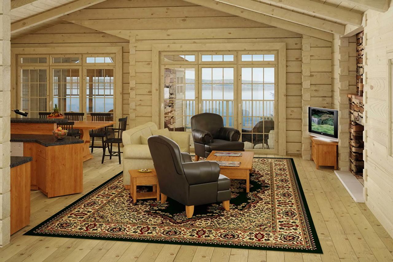 Интерьер деревянных коттеджей фото