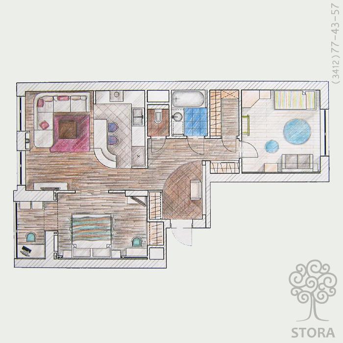 Дизайн двухкомнатной квартиры распашонки 60 квм