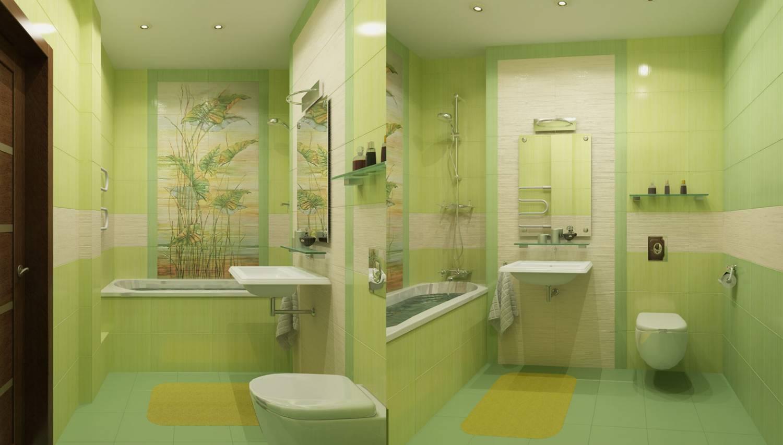 Дизайн ванной комнаты зеленого цвета совмещенной с туалетом