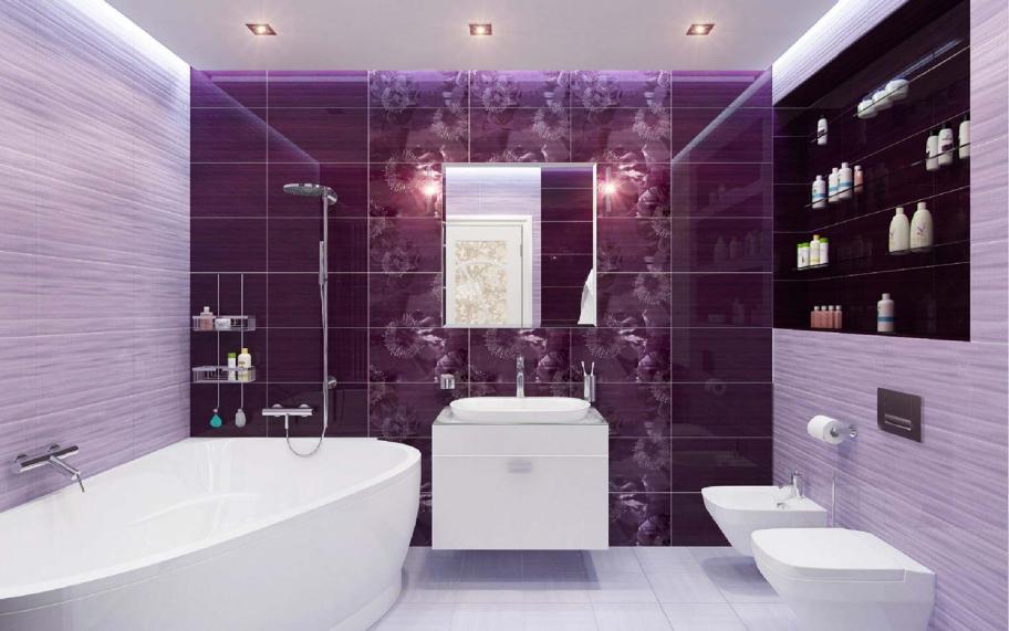 Дизайн ванных комнат в сиреневых тонах фото