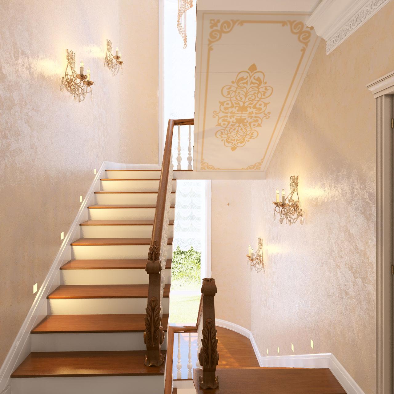 Интерьер коридора в частном доме с лестницей фото идеи