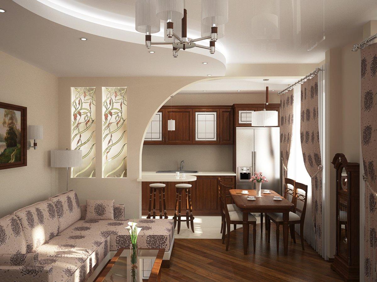 Дизайн кухни совмещённая с гостиной