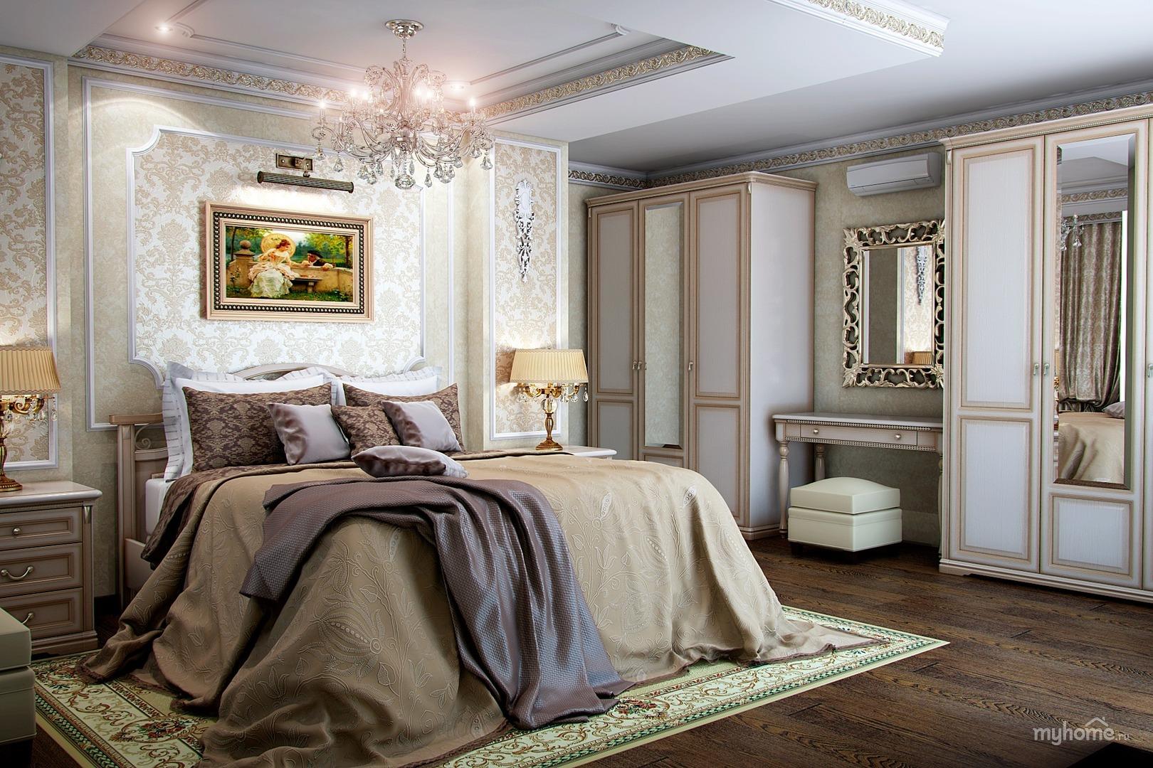 Фото интерьер спальни классика