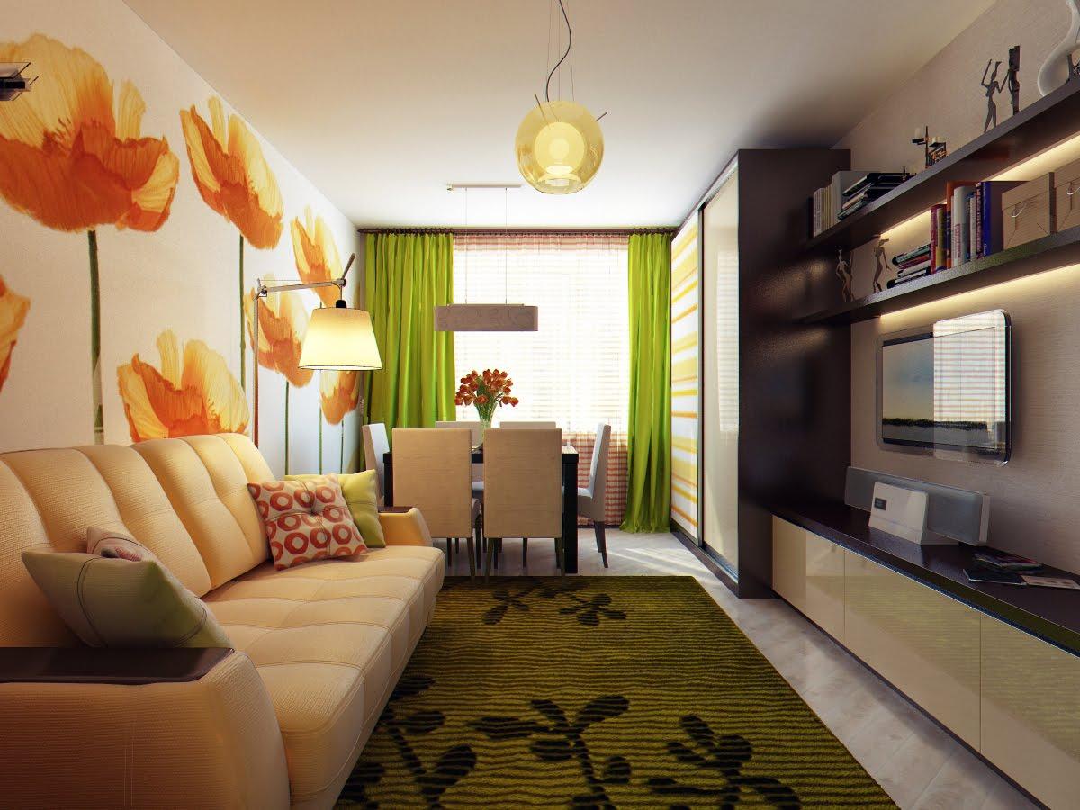 Дизайн зала в брежневке