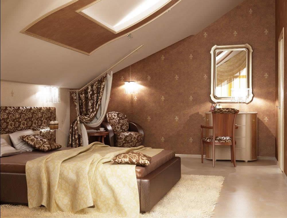 Дизайн спальни в мансардной крыши фото