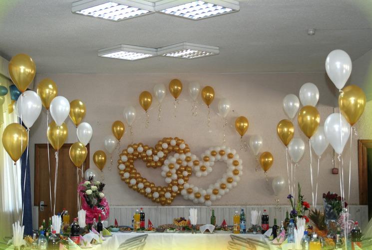 Украшение зала шарами своими руками на свадьбу фото