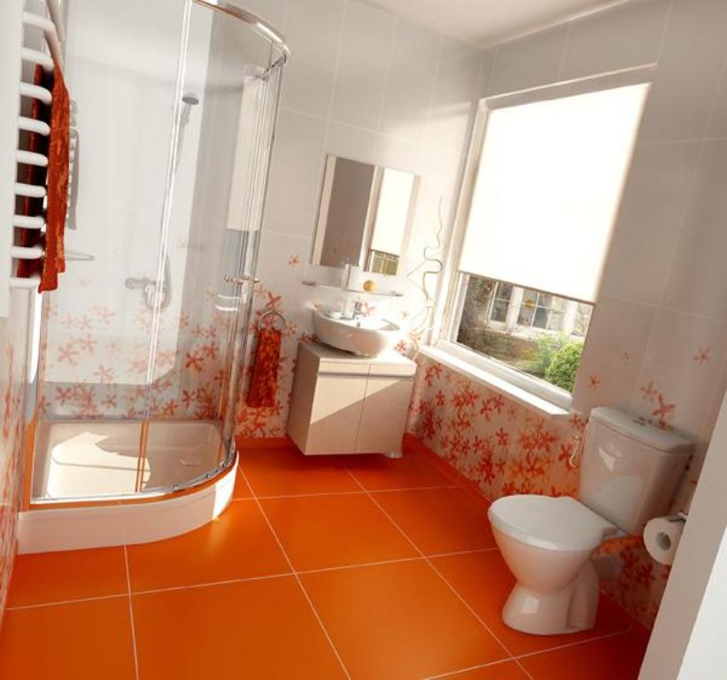 Маленькая оранжевая ванная комната дизайн