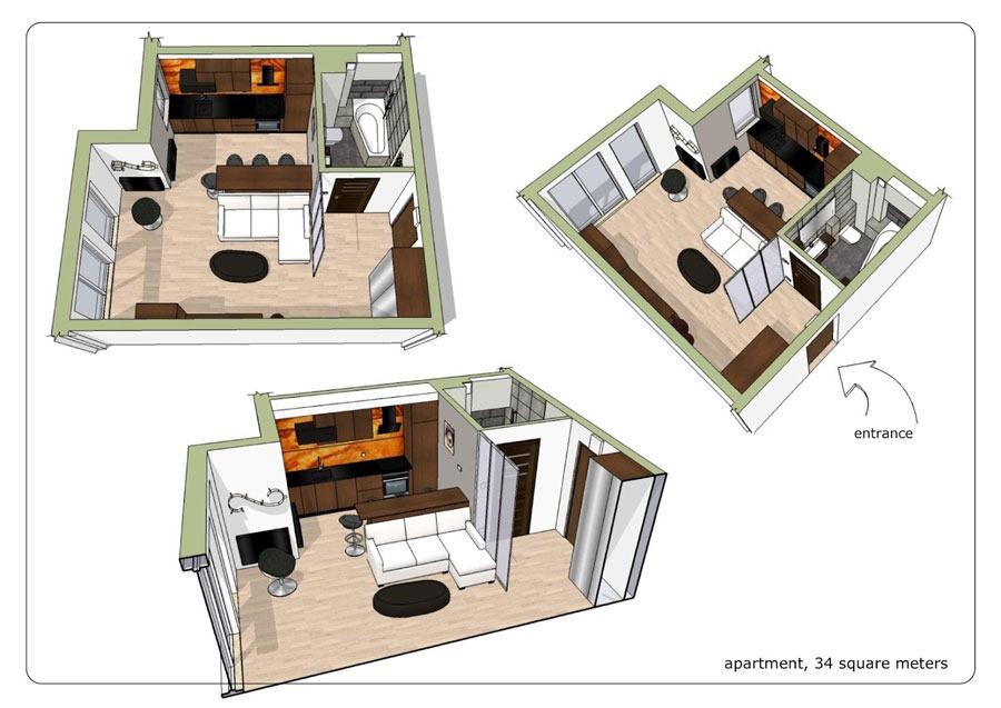 Дизайн для квартиры студии в 34 кв м