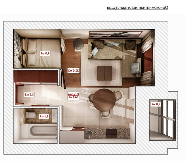 Дизайн проект 1к квартиры