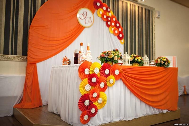 Как сделать украшения для зала на свадьбу